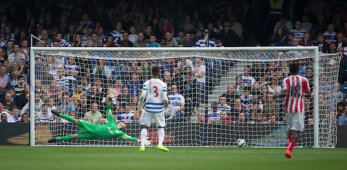 20.09.2014.  London, England. Barclays Premier League. Queens Park Rangers versus Stoke City. QPR's Robert Green is at full stretch and is relived to see the shot by Pete Crouch go narrowly wide.