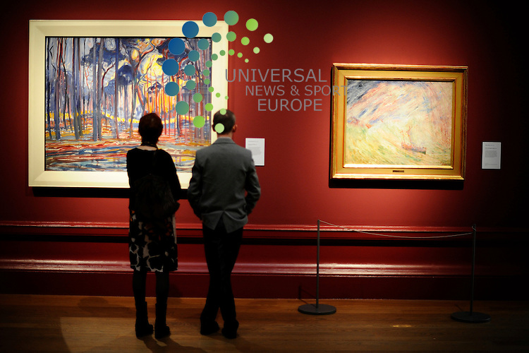 Van Gogh to Kandinsky, Symbolist Landscape in Europe 1880-1910 exhibition from 14th July - 14 October 2012, at the Scottish National Gallery on the Mound, Edinburgh, 11th July 2012. Pictured Woods Near Oele by Piet Mondrian..Picture:Scott Taylor Universal News And Sport (Europe) .All pictures must be credited to www.universalnewsandsport.com. (Office)0844 884 51 22.
