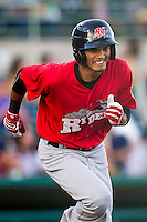 Frisco Roughriders shortstop Luis Sardinas (2) hustles down the first base line in the Texas League baseball game against the San Antonio Missions on August 22, 2013 at the Nelson Wolff Stadium in San Antonio, Texas. Frisco defeated San Antonio 2-1. (Andrew Woolley/Four Seam Images)