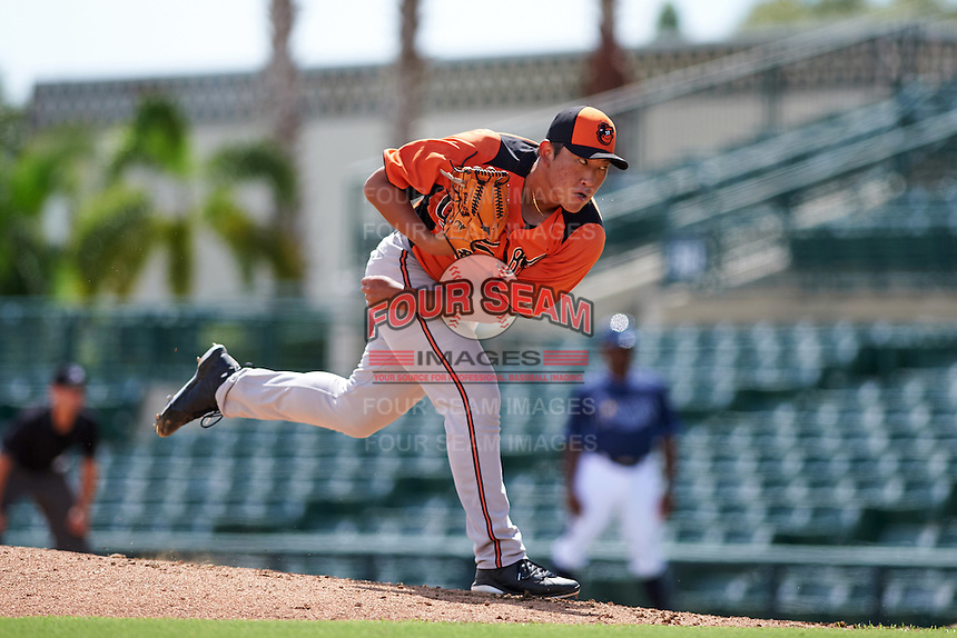 Baltimore Orioles pitcher Jeong-Hyeon Yoon (45) during an instructional league game against the Tampa Bay Rays on September 25, 2015 at Ed Smith Stadium in Sarasota, Florida.  (Mike Janes/Four Seam Images)