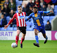 Lincoln City's Harry Toffolo vies for possession with Shrewsbury Town's Ethan Ebanks-Landell<br /> <br /> Photographer Andrew Vaughan/CameraSport<br /> <br /> The EFL Sky Bet League One - Shrewsbury Town v Lincoln City - Saturday 11th January 2020 - New Meadow - Shrewsbury<br /> <br /> World Copyright © 2020 CameraSport. All rights reserved. 43 Linden Ave. Countesthorpe. Leicester. England. LE8 5PG - Tel: +44 (0) 116 277 4147 - admin@camerasport.com - www.camerasport.com