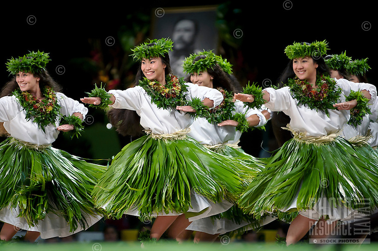 Merrie Monarch hula festival in Hilo, on the Big island of Hawaii. Halau Hula Ka Lehua Tuahine, Kumu Ka'ilihiwa Vaughan-Darval,<br />