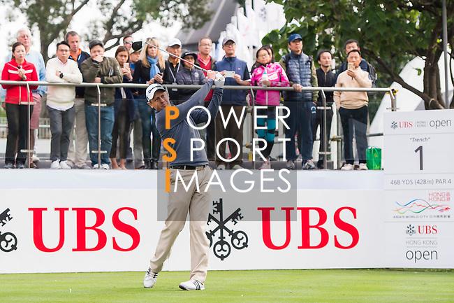 James Stewart of Hong Kong tees off during the day one of UBS Hong Kong Open 2017 at the Hong Kong Golf Club on 23 November 2017, in Hong Kong, Hong Kong. Photo by Marcio Rodrigo Machado / Power Sport Images
