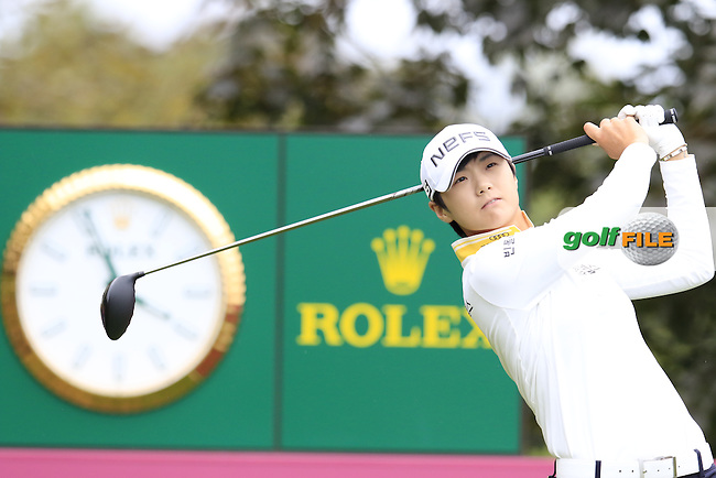 Sung Hyun Park (KOR) tees off the 13th tee during Saturday's Round 3 of The 2016 Evian Championship held at Evian Resort Golf Club, Evian-les-Bains, France. 17th September 2016.<br /> Picture: Eoin Clarke | Golffile<br /> <br /> <br /> All photos usage must carry mandatory copyright credit (&copy; Golffile | Eoin Clarke)