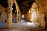 Grand Hall of the Medieval Hospital of the Knights of St John completed in 1480 which houses the Archeological Museum,  Rhodes, Greece. UNESCO World Heritage Site