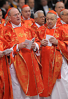US cardinal Timothy Michael Dolan.Dean of the College of Cardinals Angelo Sodano leads a  during a Mass for the election of a new pope, at the St Peter's basilica on March 12, 2013 at the Vatican. The 115 cardinal electors who pick the next leader of 1.2 billion Catholics in a conclave in the Sistine Chapel will live inside the Vatican walls completely cut off from the outside world until they have made their choice..