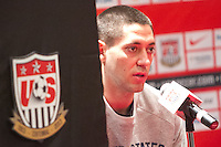 Clint Dempsey speaks to the media at the USA press conference with Jurgen Klinsmann in Mexico City, Mexico on March 25, 2013.