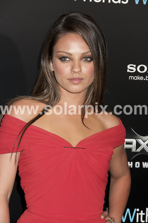 **ALL ROUND PICTURES FROM SOLARPIX.COM**                                             **SYNDICATION RIGHTS FOR UK, AUSTRALIA, DENMARK, PORTUGAL, S. AFRICA, SPAIN & DUBAI (U.A.E) & ASIA (EXCLUDING JAPAN) ONLY**                                                                                  Caption: Arrivals at the New York City Premiere of - Friends with Benefits - held at the Ziegfeld Theatre - New York City, NY, USA. 18 July 2011                                                                             This pic: Mila Kunis                                                                                             JOB REF: 13741 PHZ Mayer      DATE: 18_07_2011                                                           **MUST CREDIT SOLARPIX.COM OR DOUBLE FEE WILL BE CHARGED**                                                                      **MUST AGREE FEE BEFORE ONLINE USAGE**                               **CALL US ON: +34 952 811 768 or LOW RATE FROM UK 0844 617 7637**