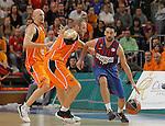Baloncesto Fuelabrada's Lubos Barton (l) and Ferran Lavina (c) and FC Barcelona Regal's Juan Carlos Navarro during Liga Endesa ACB match.October 30,2011. (ALTERPHOTOS/Acero)