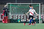 AMSTELVEEN -  Tijn Lissone (A'dam) heeft gescoord    tijdens  de  eerste finalewedstrijd van de play-offs om de landtitel in het Wagener Stadion, tussen Amsterdam en Kampong (1-1). Kampong wint de shoot outs.   COPYRIGHT KOEN SUYK