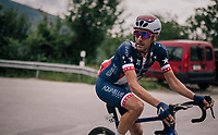 US National Champion Larry Warbasse (USA/Aqua Blue Sport) leading the race<br /> <br /> Stage 5: Gstaad &gt; Leukerbad (155km)<br /> 82nd Tour de Suisse 2018 (2.UWT)