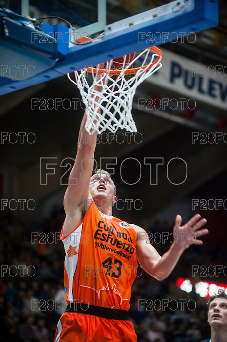 VALENCIA, SPAIN - OCTOBER 31: Sikma during ENDESA LEAGUE match between Valencia Basket Club and Rio Natura Monbus Obradoiro at Fonteta Stadium on   October 31, 2015 in Valencia, Spain