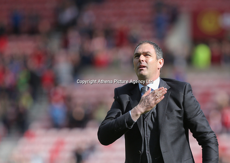 SUNDERLAND, ENGLAND - MAY 13: Swansea manager Paul Clement celebrates his team's win during the Premier League match between Sunderland and Swansea City at the Stadium of Light, Sunderland, England, UK. Saturday 13 May 2017