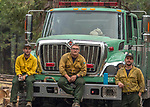 Stanislaus National Forest Engine Crew E314 from Sonora, California protects house in Wawona.<br /> After hearing the news that the South Fork Fire was 1/4 mile from Wawona, I went back to the fire to see what was happening.  Most of the fire activity last night and this morning early were near Chilnualna Falls Road.  It looked to me that the firefighters had done their jobs.   Structure protection was in place with lots of engine and hose lays all over the place.  I decided to photograph Firefighters today Monday, August 21, 2017.  Photo by Al Golub/Golub Photography.
