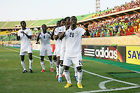 Ghana's Dominic Adiyiah (20) and his team do a dance after scoring against South Korea in the first half of the FIFA Under 20 World Cup Quarter-final match between Ghana and South Korea at the Mubarak Stadium  in Suez, Egypt, on October 09, 2009.