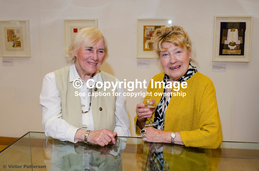 Mavis Thomson, artist, right, with Jean Gregory, from Omagh,  member of the Ulster Society of Women Artists. Mavis, who lives in Enniskillen, Co Fermanagh, N Ireland, is a member of the Royal Ulster Academy, Ulster Society of Woman Artists, Watercoilour Society of Ireland, Ulster Watercolour Society and the Turner Society. 201805254877<br />