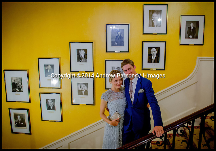 Image ©Licensed to i-Images Picture Agency. 11/09/2014. London, United Kingdom.Jake and Victoria's wedding drinks at No10 Downing street. Picture by Andrew Parsons / i-Images