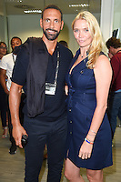 Rio Ferdinand and Jodie Kidd<br /> on the trading floor for the BGC Charity Day 2016, Canary Wharf, London.<br /> <br /> <br /> &copy;Ash Knotek  D3152  12/09/2016