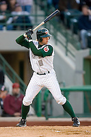 James Darnell #8 of the Fort Wayne Tin Caps at bat versus the Dayton Dragons at Parkview Field April 16, 2009 in Fort Wayne, Indiana. (Photo by Brian Westerholt / Four Seam Images)