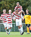 MARK MCLAUGHLIN (6) IS CONGRATULATED AFTER HE HEADS HOME HAMILTON'S WINNER.09/10/2011  sct_jsp006_hamilton_v_livingston  .Copyright  Pic : James Stewart.James Stewart Photography 19 Carronlea Drive, Falkirk. FK2 8DN      Vat Reg No. 607 6932 25.Telephone      : +44 (0)1324 570291 .Mobile              : +44 (0)7721 416997.E-mail  :  jim@jspa.co.uk.If you require further information then contact Jim Stewart on any of the numbers above.........