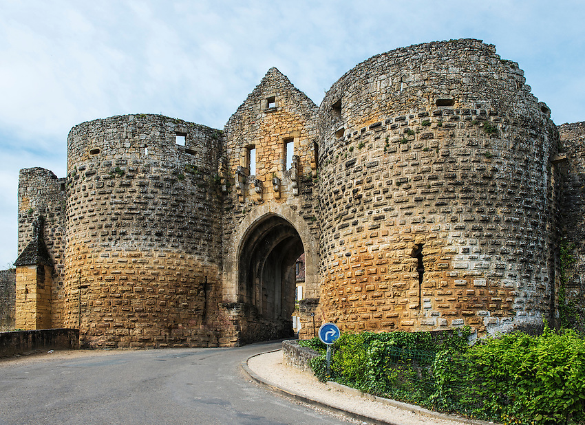The Tower Gate (Porte des Tours) of the village of Domme, located in Perigord on the Dordogne River.