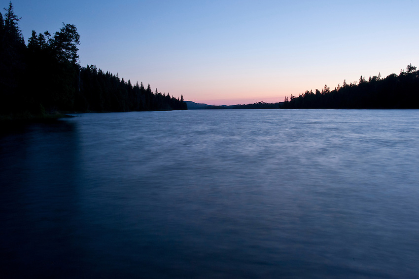 The protected waters of Duncan Bay at dusk at Isle Royale National Park in Michigan USA.