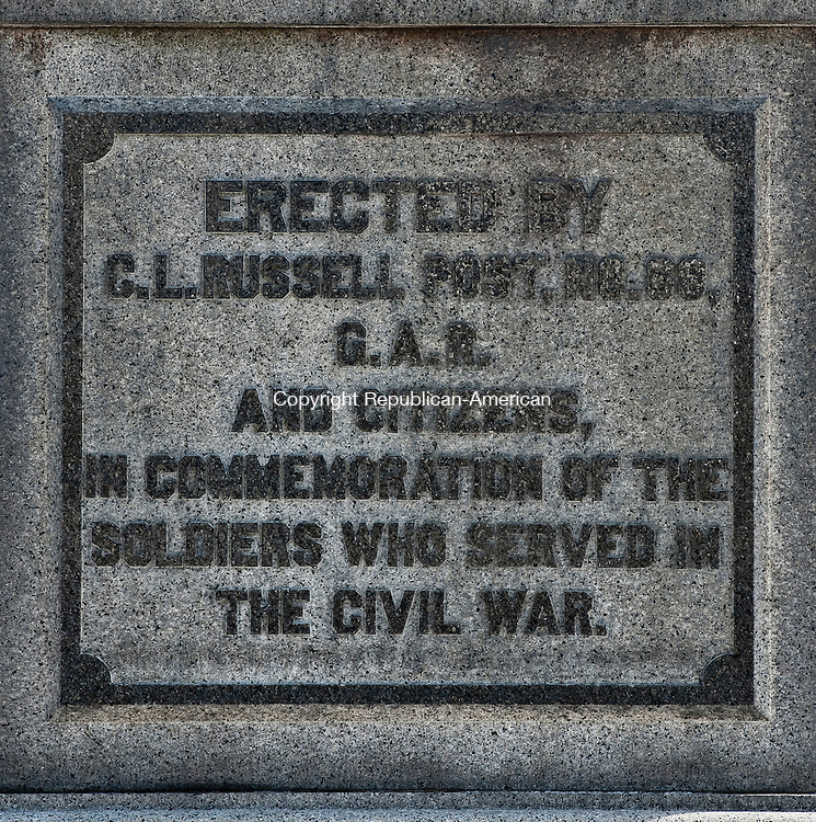 THOMASTON ,  CT,  CT-041115JS05-  The  Soldiers' Monument  at Kenea Park in Thomaston reads: Erected by C. L. Russell Post No. 68 G.A.R. and citizens, in commemoration of the soldiers who served in the Civil War. <br /> Jim Shannon Republican-American