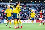 ****BETALBILD**** <br /> Stockholm 2015-04-08 Fotboll Landskamp Damer , Sverige - Danmark :  <br /> Sveriges Lotta Schelin firar sitt 2-2 m&aring;l med Therese Sj&ouml;gran och Caroline Seger under matchen mellan Sverige och Danmark <br /> (Photo: Kenta J&ouml;nsson) Keywords:  Sweden Sverige Denmark Danmark Landskamp Dam Damer Tele2 Arena Stockholm jubel gl&auml;dje lycka glad happy
