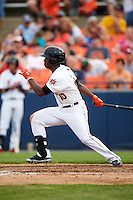 Frederick Keys center fielder Josh Hart (10) at bat during a game against the Carolina Mudcats on June 4, 2016 at Nymeo Field at Harry Grove Stadium in Frederick, Maryland.  Frederick defeated Carolina 5-4 in eleven innings.  (Mike Janes/Four Seam Images)