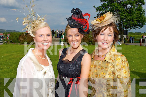 FINALISTS: Gillian Gilbourne (Millstreet), Mary Stapleton (Tralee) and Eileen Kennedy (Caragh lake) were the finalists on Ladies day at the Tralee races on Sunday.   Copyright Kerry's Eye 2008