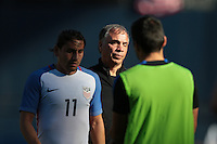 San Diego, CA - Sunday January 29, 2017: Alejandro Bedoya, Bruce Arena during an international friendly between the men's national teams of the United States (USA) and Serbia (SRB) at Qualcomm Stadium.