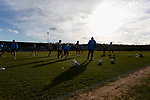 Southport players warming up. Darlington 1883 v Southport, National League North, 16th February 2019. The reborn Darlington 1883 share a ground with the town's Rugby Union club. <br /> After several years of relegations, bankruptcies, and ground moves, the club is fan owned, and back on an even keel in the National League North.<br /> A 0-0 draw with Southport was marred by a broken leg and dislocated knee suffered by Sam Muggleton, Darlington's on loan left back.<br /> Both teams finished the season in lower mid table.