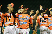 Heber Gomez  , durante el juego a beisbol de Naranjeros vs Cañeros durante la primera serie de la Liga Mexicana del Pac