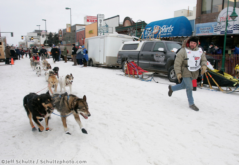 Cim Smyth runs his dogs down 4th avenue to the start line in Anchorage on Saturday March 1st during the ceremonial start day of the 2008 Iidtarod Sled Dog Race.