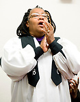 WATERBURY, CT-012119JS05- A member of the Fellowship Choir lifts her voice as she sings a hymn during the annual Rev. Martin Luther King Day Service held Monday at Grace Baptist Church in Waterbury. During the event, which was hosted by the Waterbury Fellowship of Christian Churches, former Waterbury Police Chief Vernon L. Riddick, Jr., was honored with the MLK Achievement Award. <br /> Jim Shannon Republican American