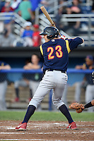 State College Spikes outfielder Collin Radack (23) at bat during a game against the Batavia Muckdogs on July 3, 2014 at Dwyer Stadium in Batavia, New York.  State College defeated Batavia 7-1.  (Mike Janes/Four Seam Images)