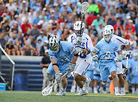 Annapolis, MD - May 20, 2018: Johns Hopkins Blue Jays Hunter Moreland (31) gets the ball during the quarterfinal game between Duke vs John Hopkins at  Navy-Marine Corps Memorial Stadium in Annapolis, MD.   (Photo by Elliott Brown/Media Images International)