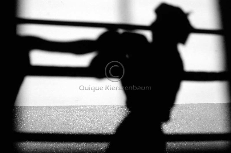 Boxers cast shadows during the semifinals of the Israeli Amateur Boxing Championship March 28, 2003 in Kfar Yassif, Israel. The Israeli Boxing Association has around     2,000 members from all over the country, with a majority of Israeli Arabs (60 percent) versus Jews. The boxing association has the goal to be a bridge between Arabs and Jews. Photo by Quique Kierszenbaum