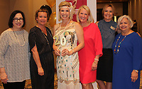 NWA Democrat-Gazette/CARIN SCHOPPMEYER Susan Hui (from left), Hope Bradberry, Karen Light, Kamron Whitehead and Marla Hunt, former presidents of the Junior League of Northwest Arkansas, gather at the group's 20th anniversary celebration May 14 at the Embassy Suites in Rogers.