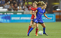 Portland, OR - Saturday July 30, 2016: Mallory Weber, Elli Reed during a regular season National Women's Soccer League (NWSL) match between the Portland Thorns FC and Seattle Reign FC at Providence Park.