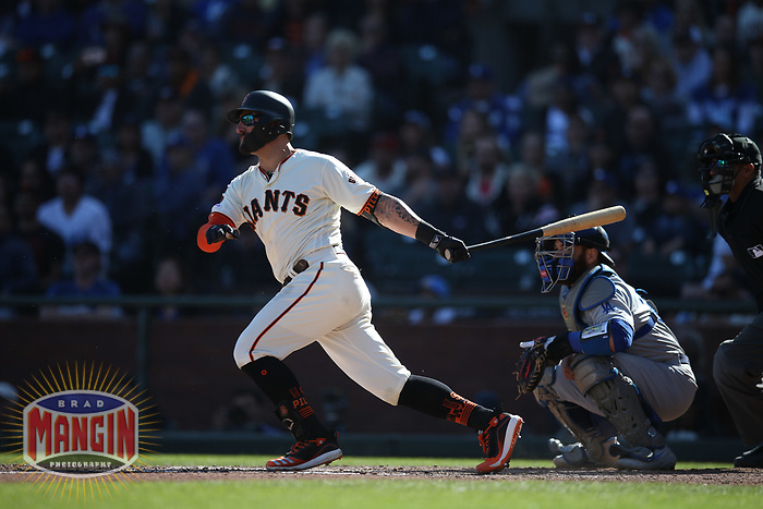 SAN FRANCISCO, CA - SEPTEMBER 28:  Kevin Pillar #1 of the San Francisco Giants bats against the Los Angeles Dodgers during the game at Oracle Park on Saturday, September 28, 2019 in San Francisco, California. (Photo by Brad Mangin)