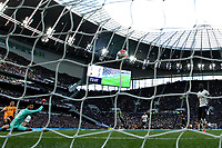 1st March 2020; Tottenham Hotspur Stadium, London, England; English Premier League Football, Tottenham Hotspur versus Wolverhampton Wanderers; Raul Jimenez of Wolverhampton Wanderers shoots and scores for 2-3