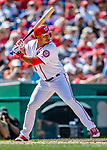 14 April 2018: Washington Nationals outfielder Moises Sierra in action against the Colorado Rockies at Nationals Park in Washington, DC. The Nationals rallied to defeat the Rockies 6-2 in the 3rd game of their 4-game series. Mandatory Credit: Ed Wolfstein Photo *** RAW (NEF) Image File Available ***