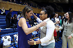 DURHAM, NC - NOVEMBER 16: Duke head coach Joanne P. McCallie (left) and High Point head coach Deanna Hendrix (right) embrace before the game. The Duke University Blue Devils hosted the High Point University Panthers on November 16, 2017 at Cameron Indoor Stadium in Durham, NC in a Division I women's college basketball game. Duke won the game 77-50.