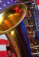Saxophone with American flag background.