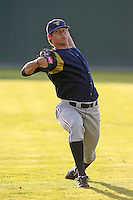 September 1, 2009:  Pitcher Nate Baker of the State College Spikes before a game at Dwyer Stadium in Batavia, NY.  State College is the Short-Season Class-A affiliate of the Pittsburg Pirates.  Photo By Mike Janes/Four Seam Images