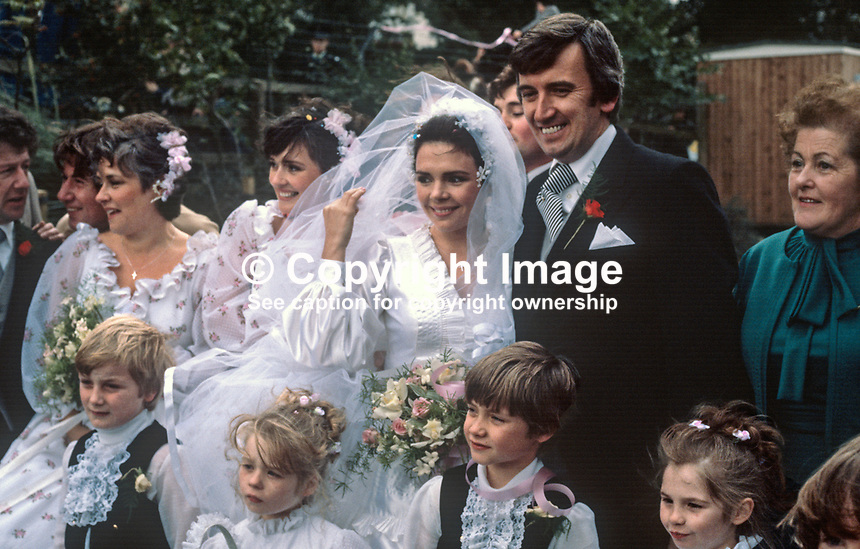 Wedding of Irish 1970 Eurovision-winning singer, Dana, aka Rosemary Brown, from Londonderry, N Ireland, and Damien Scallon, hotelier, Newry, N Ireland, in St Eugene's Cathedral, Londonderry on 5th October 1978. Informal shots of bride and groom at their reception hotel. 197810050265e.<br />