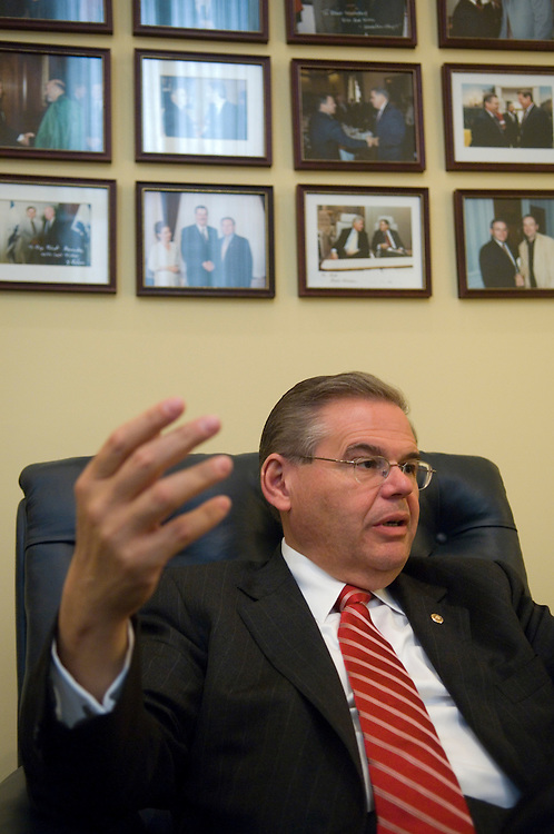 Sen. Robert Menendez, D-N.J., speaks to Roll Call in his office in the Hart Senate Office Building on Wednesday, May 16, 2007.
