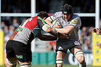 George Skivington of Leicester Tigers is tackled by Ollie Kohn of Harlequins during the Aviva Premiership match between Harlequins and Leicester Tigers at The Twickenham Stoop on Saturday 21st April 2012 (Photo by Rob Munro)