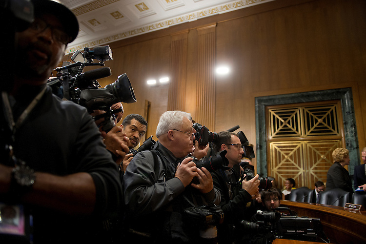 UNITED STATES - Nov 6: News photographers wait for the start of the Senate Finance Committee hearing with Kathleen Sebelius, secretary of Health and Human Services on November 6, 2013. (Photo By Douglas Graham/CQ Roll Call)
